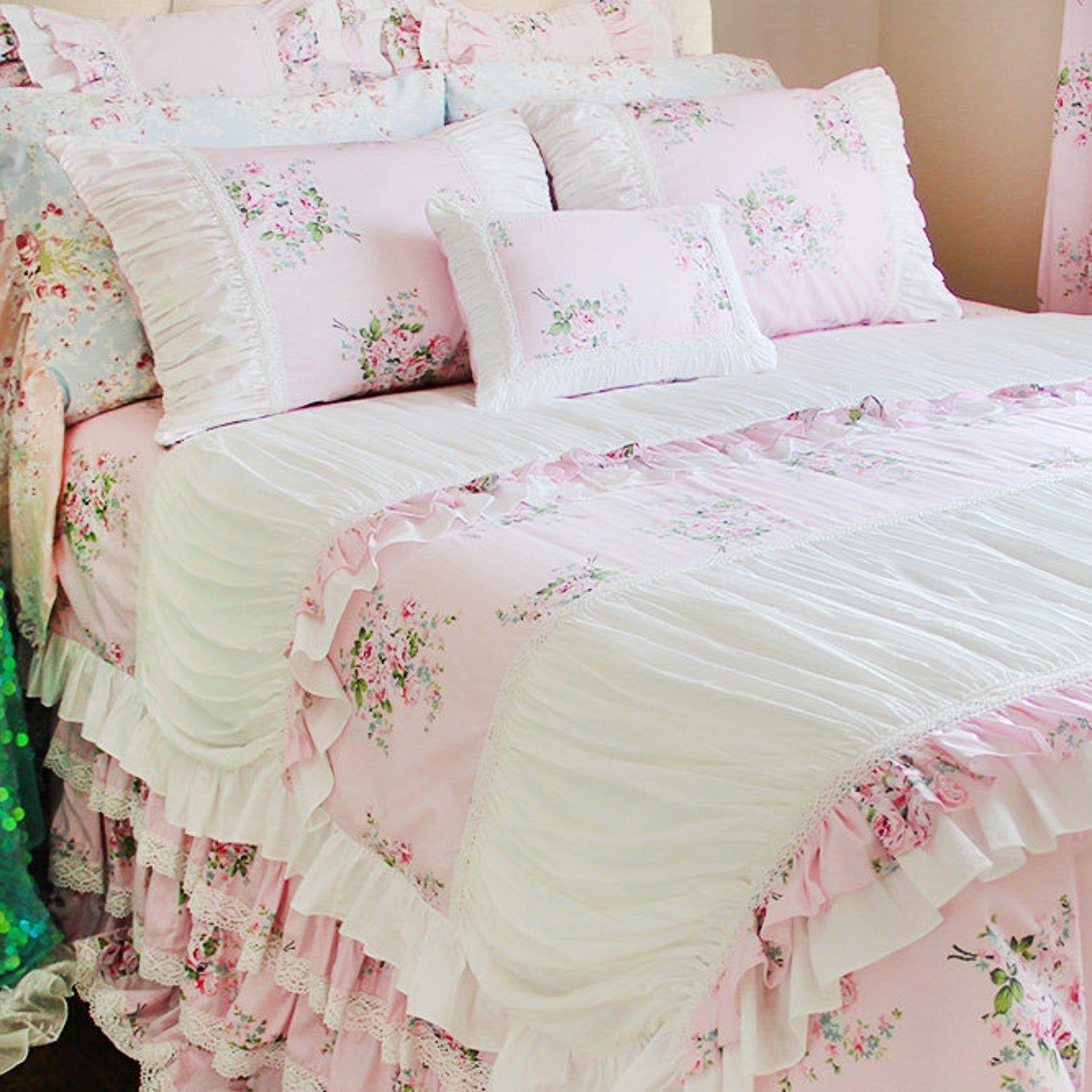 Pink Rose Ruffle Ruched Crochet Eyelet Lace Luxury Shabby