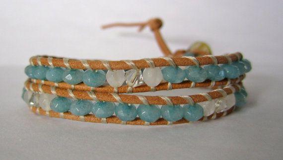 Faceted Aqua Jade, White jade, and swarovski crystal wrap bracelet