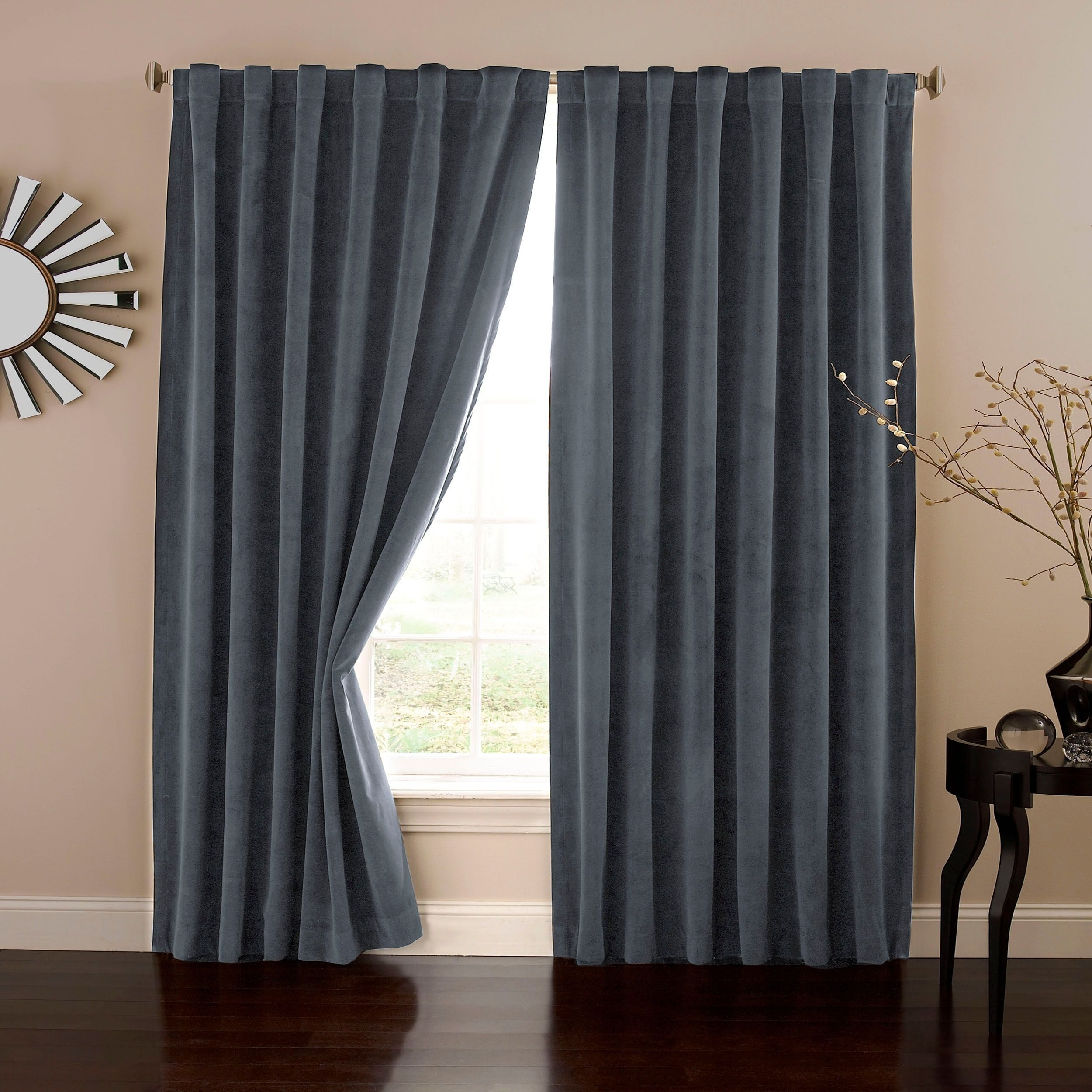 Absolute zero velvet blackout home theater curtain panel stone blue