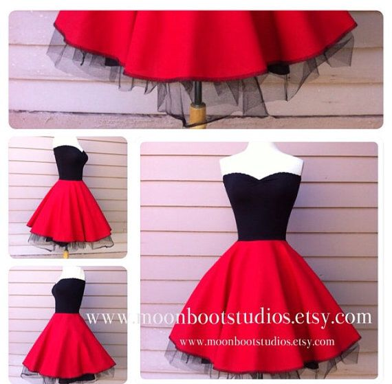 Rock n Roll CHERRY RED Lola Dress Strapless Pin por MoonbootStudios ...