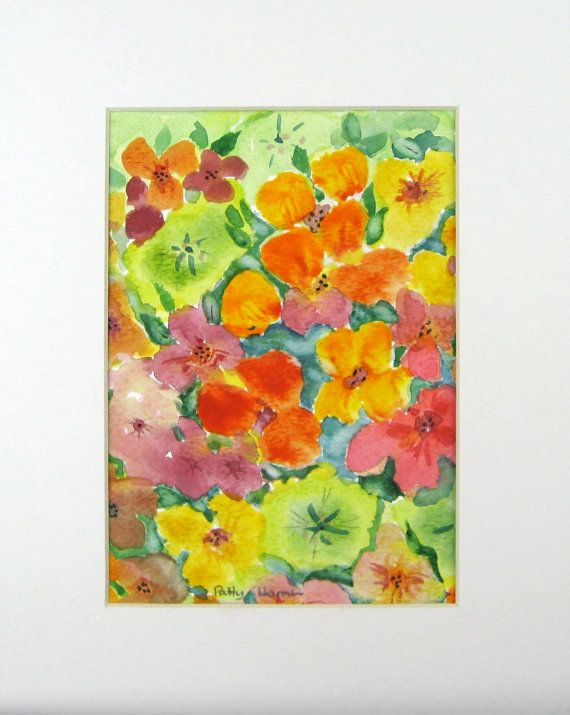 Original Watercolor Impatiens Garden Shabby By Pattysgardenstudio