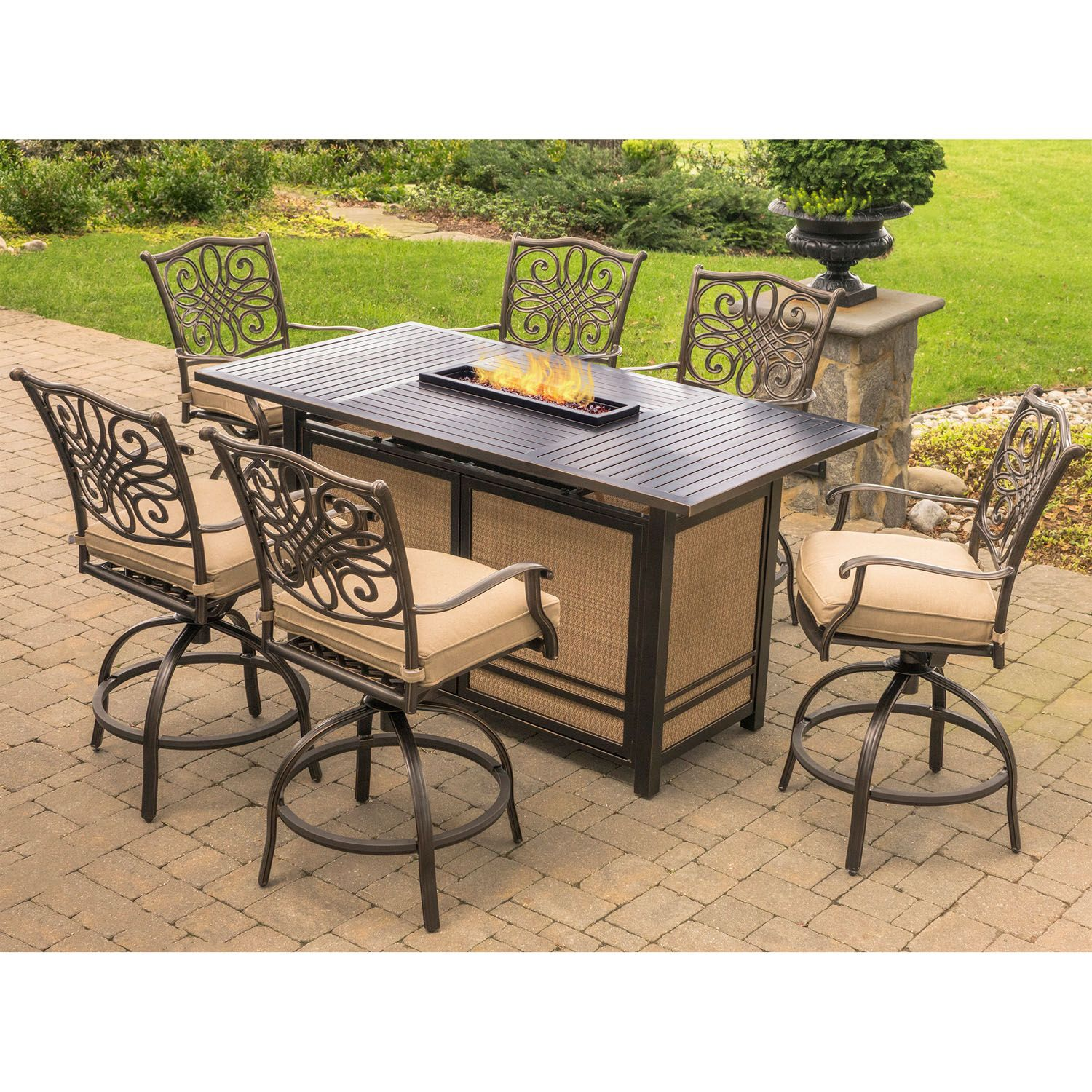 Hanover Traditions 7 Piece High Dining Set In Tan With 30 000 Btu
