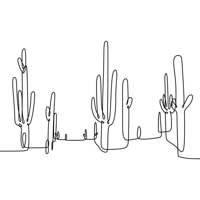 Photo of Cactus Continuous Line Drawing Vector, Pot, Minimalistic, Design PNG and Vector with Transparent Background for Free Download