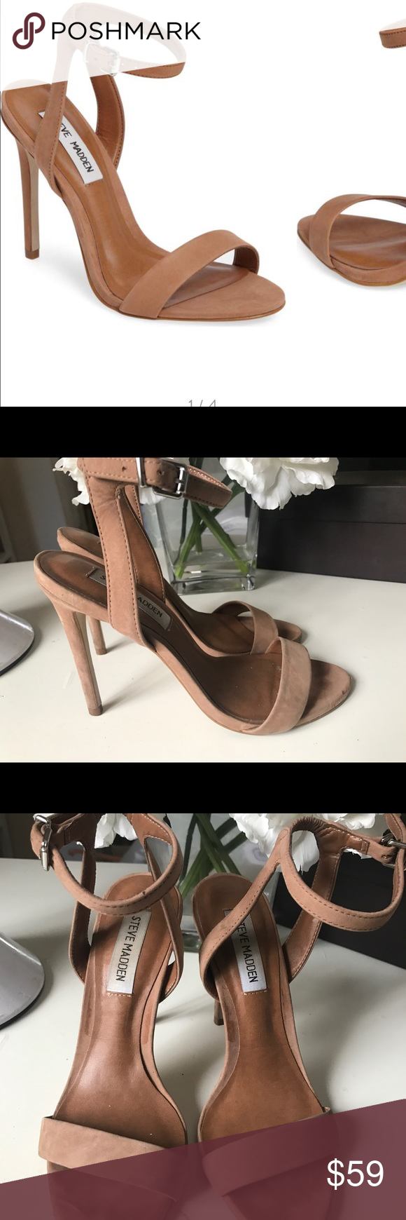 5c0a745999b Steve Madden landen ankle straps heels tan nubuck Pre-owned size 5.5 In  excellent condition