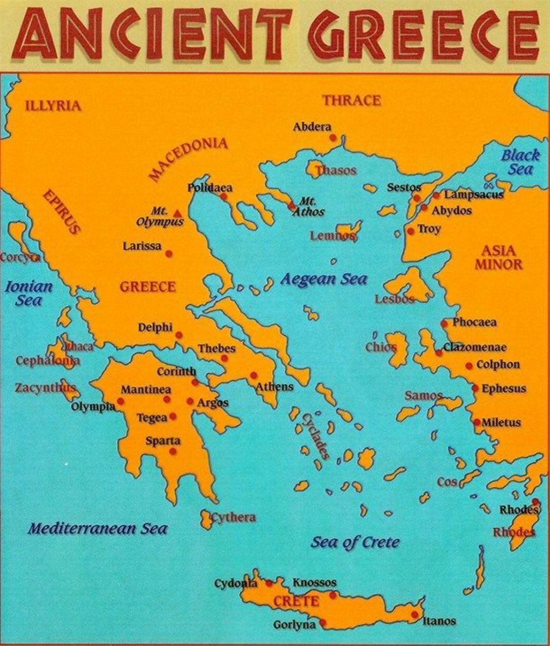 Map Of Greece Archaeologyart