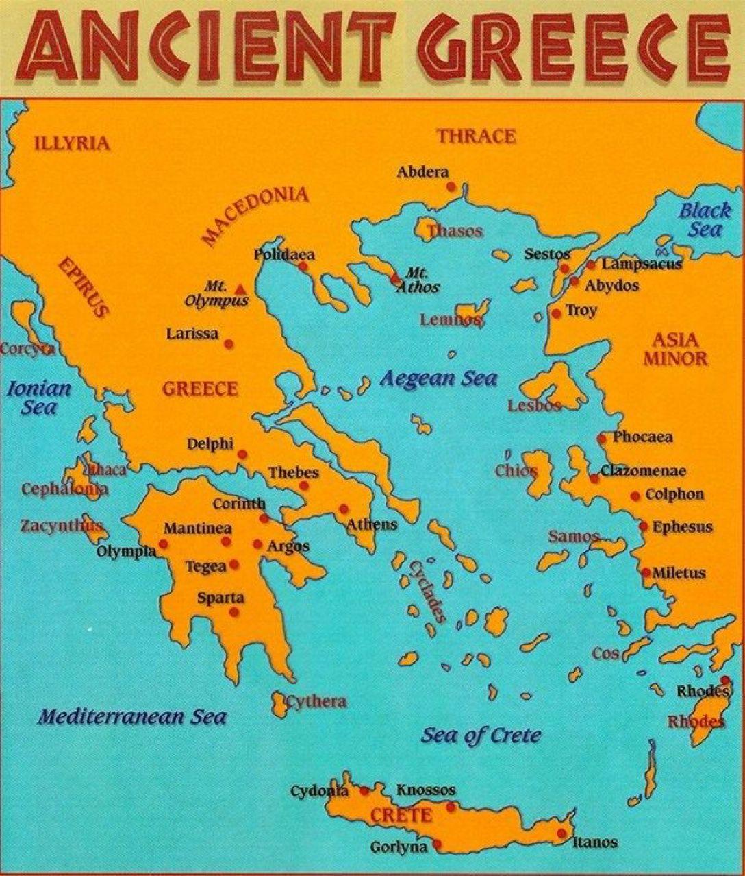 Map Of Greece Archaeologyart