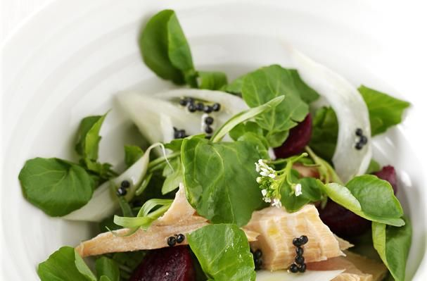 "Salmon, Watercress, Fennel and Baby Beetroot Salad With Lemony ""Caviar"" Dressing"