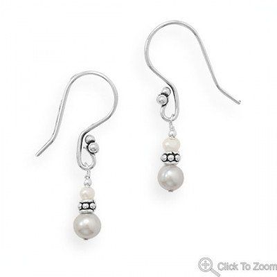 Handmade Elegant French Wire Earrings with Grey Pearls