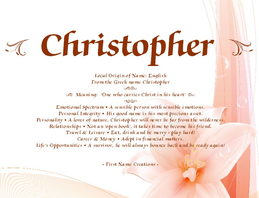 Christopher Names With Meaning Meant To Be Names