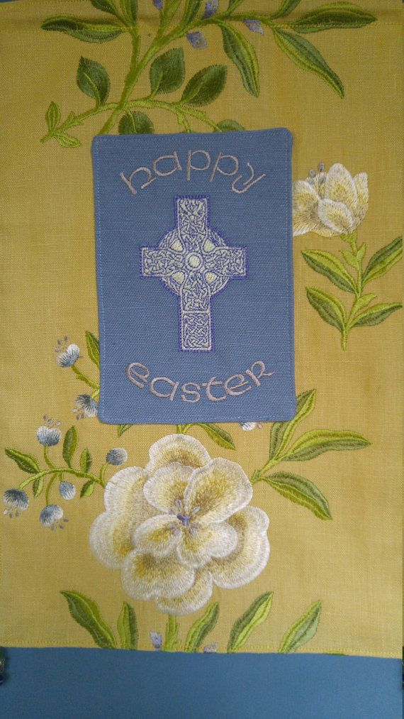 Easter wall hanging, beautifully embroidered with Happy Easter and a ...