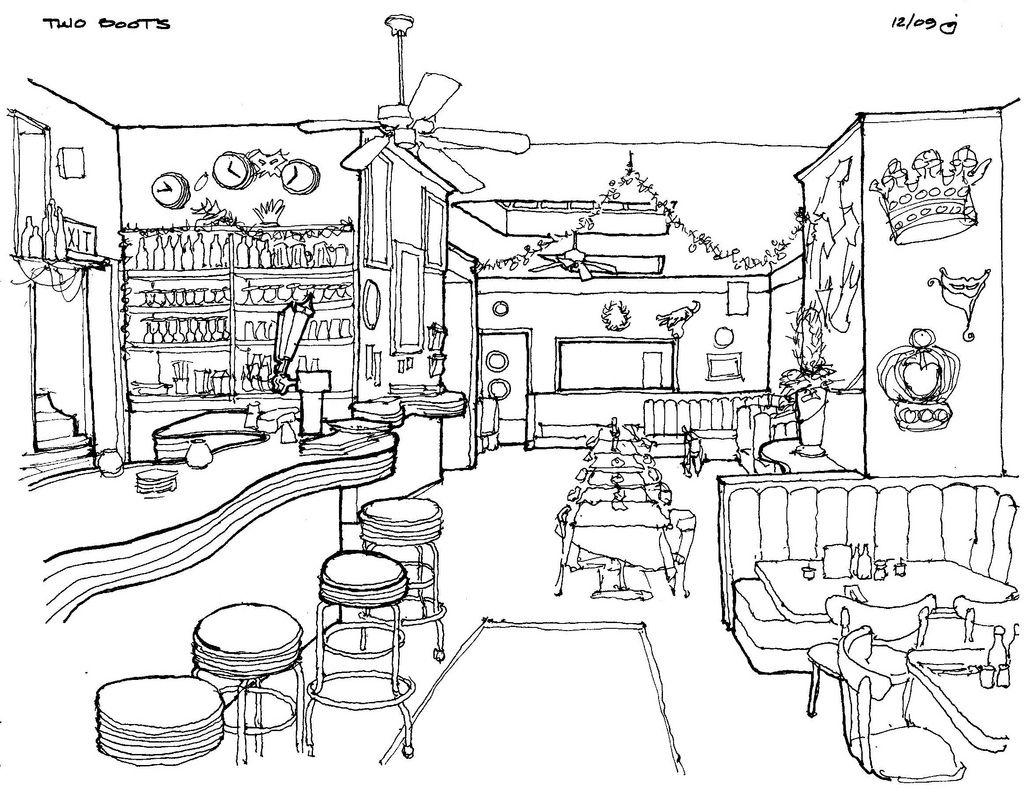 Cafe drawing interior - Imagen Relacionada Sketchdrawing