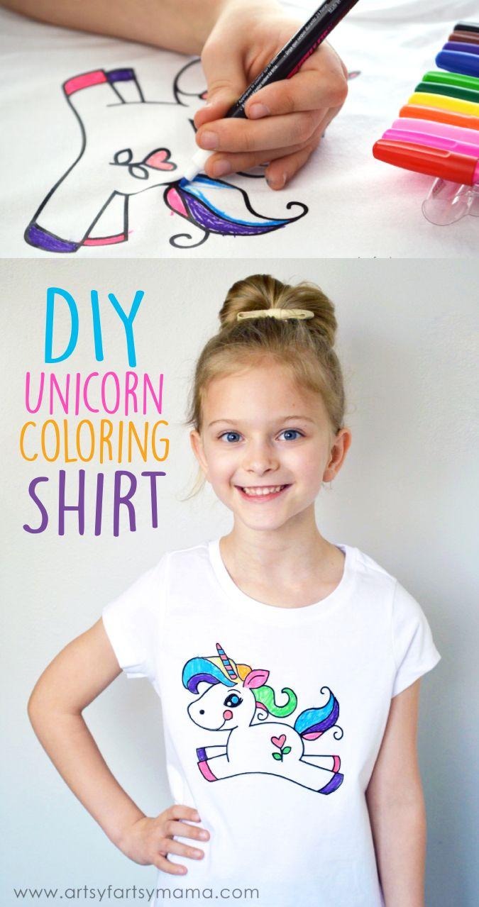 DIY Unicorn Coloring Shirt | Unicorn shirt diy, Unicorn ...