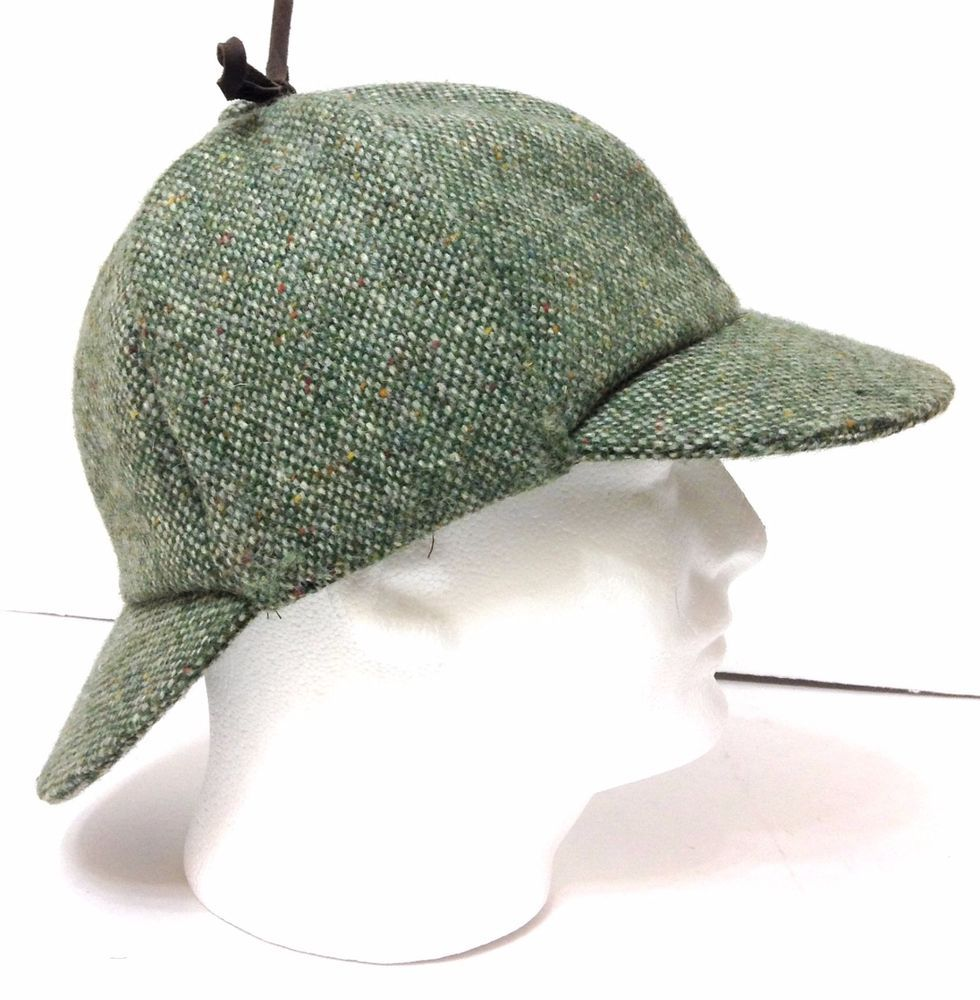 d98602d0724f VTG Made-in-Ireland Hanna-Hats-Donegal DEERSTALKER Tweed Green Wool Mens L  7-1/2 #HannaHatsofDonegal #Deerstalker