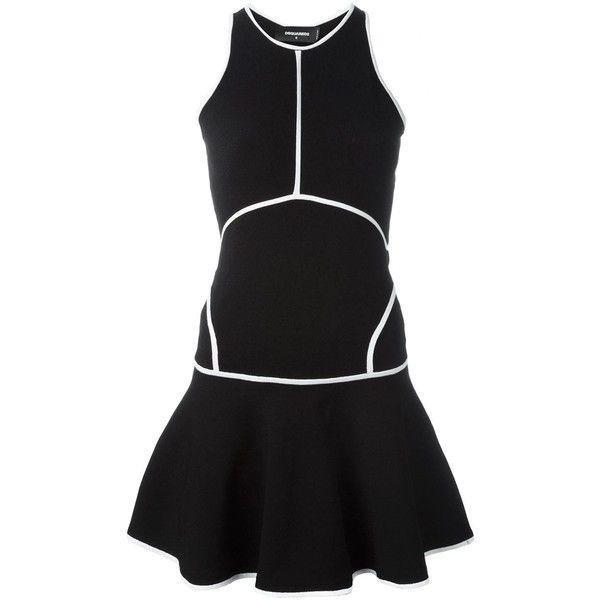 Dsquared2 racerback mini dress ($880) ❤ liked on Polyvore featuring dresses, black, round neck sleeveless dress, black skater skirt, short sleeveless dress, kohl dresses and skater skirt