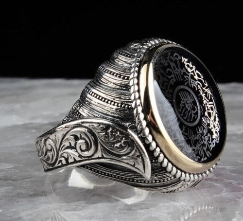 Details about Turkish Jewelry 925 Sterling Silver AYETEL KURSİ Onyx Mens Mans Ring ALL SİZE us