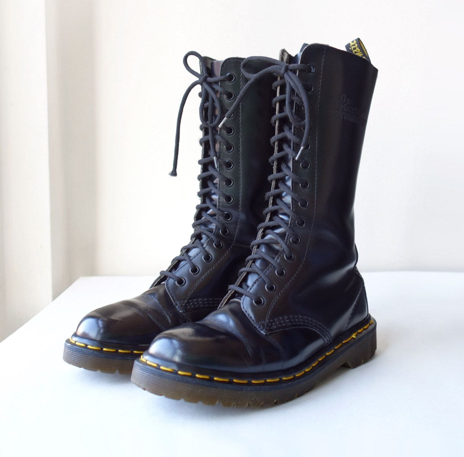67cdddc14828c Vintage 90s Made in England Dr Martens 1914 14 Eye Black Lace Up Leather  Combat Boots