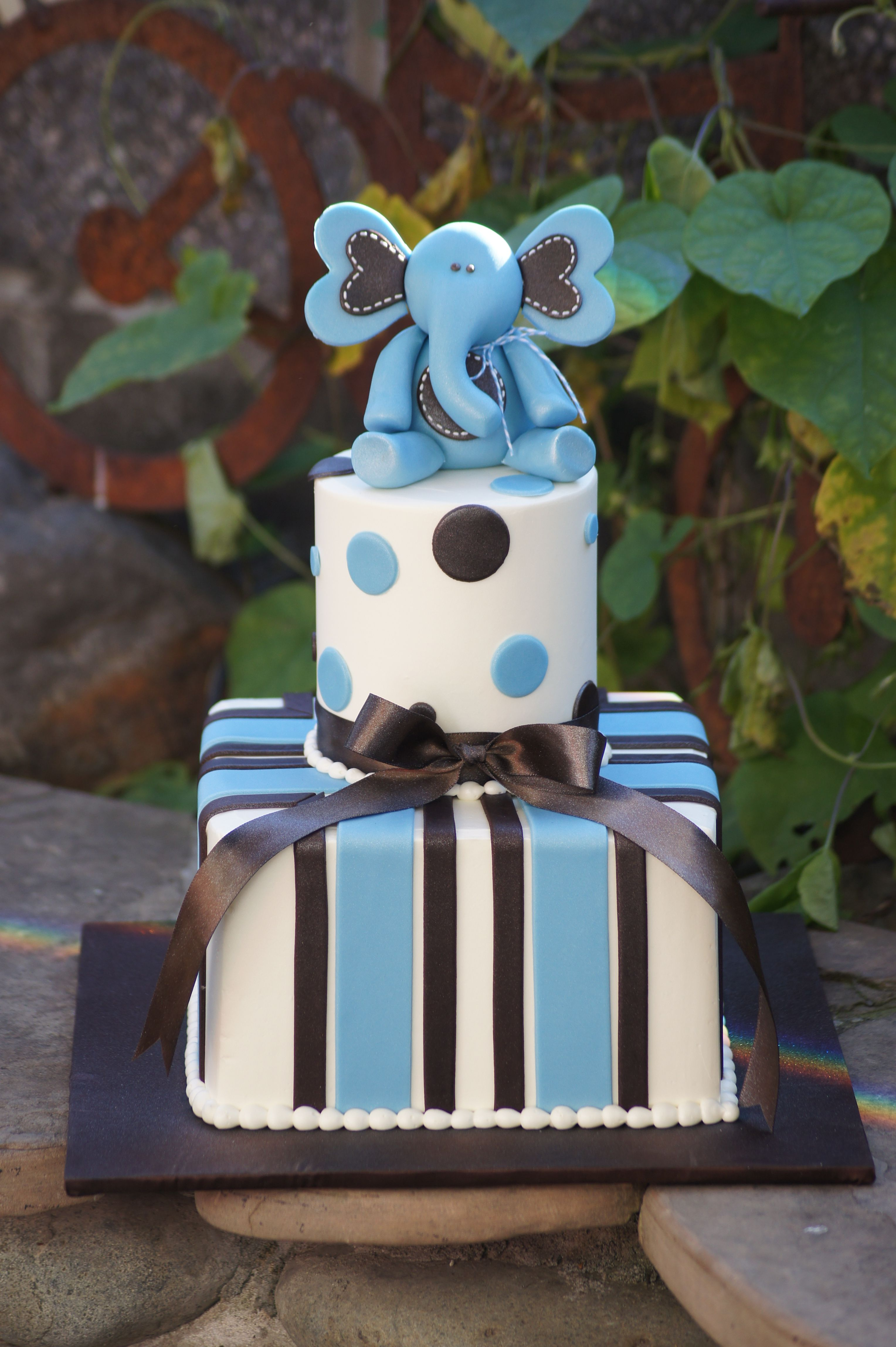 Blue Baby Shower Cake With Elephant Topper Baby Cakes