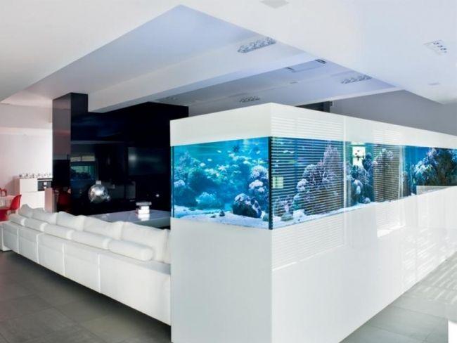 aquarium design wohnzimmer wohnideen schrank eingebaut | akvarium ... - Wohnzimmer Design Bilder