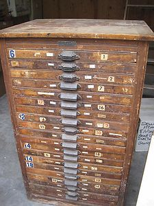 Antique Hamilton Letterpress Type Cabinet With  Drawers Full Of Different Type