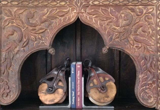 Vintage Pulleys made into bookends