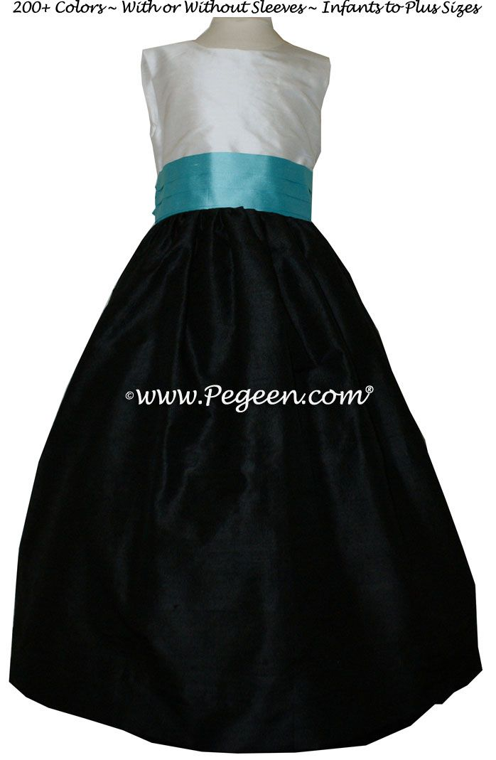 079c0e18b Tiffany Blue, Black and Antique White Flower Girl Dresses by Pegeen.com Style  398