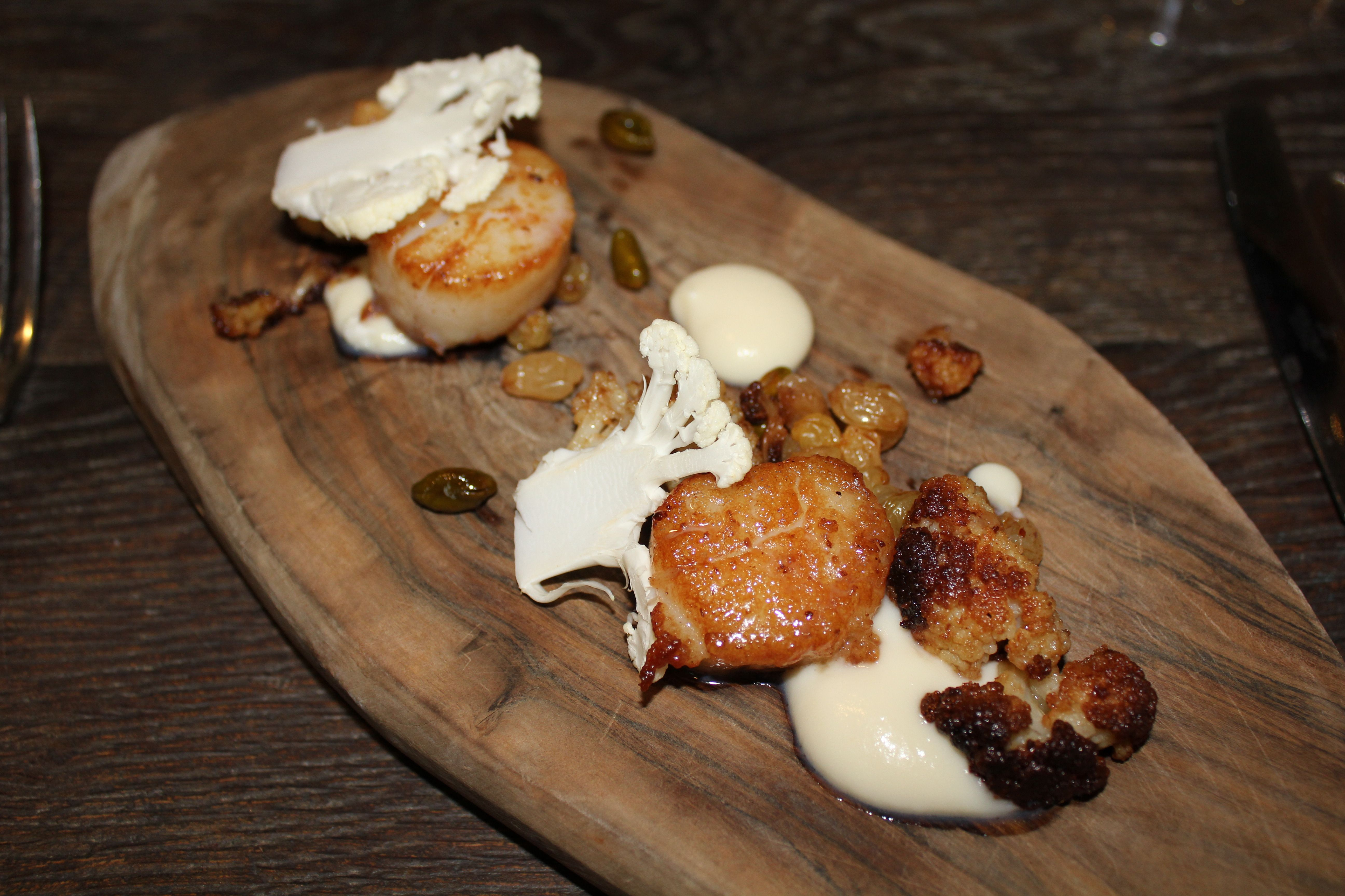 The Barn, Coworth Park hotel, Surrey. A starter of scallops. See more on the blog.