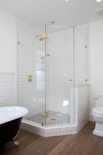 White Subway Tile Inside Corner Glass Shower Kim Grant