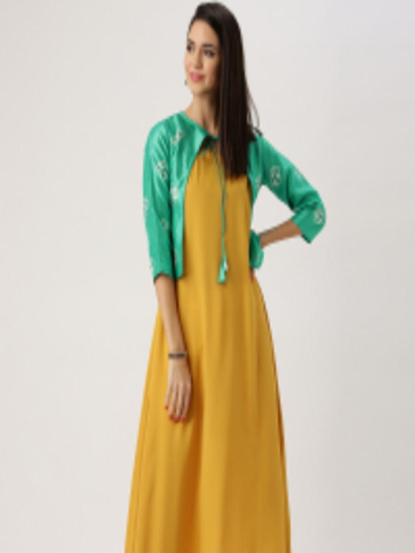 2e51c7b3fd1 Buy Libas Women Mustard Yellow   Green Solid A Line Kurta With Ethnic  Jacket - Kurtas for Women 1991298