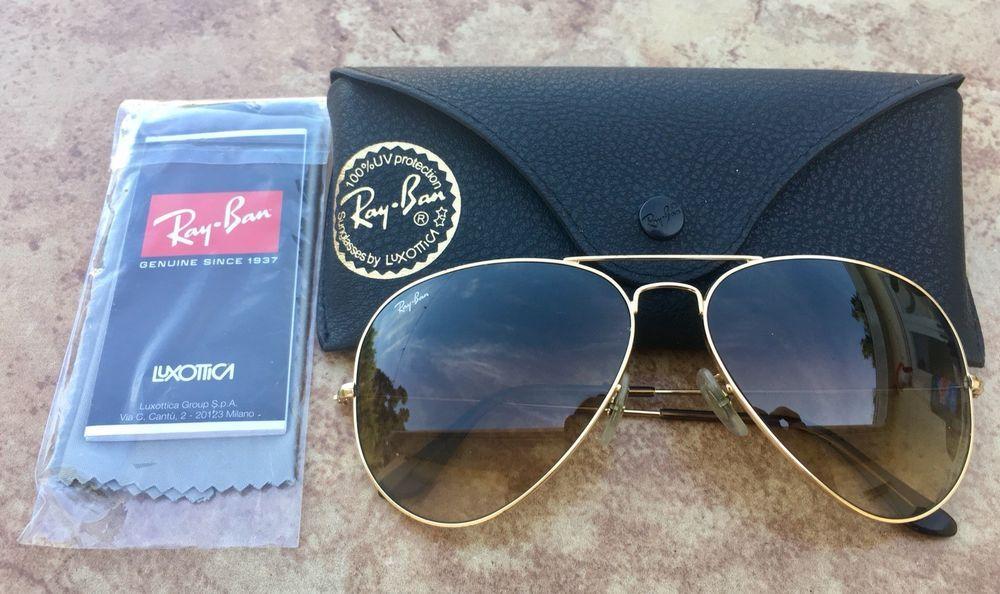 b8614fad00 Ray Ban Polarized Sunglasses RB 3025 Aviator Large Metal 62014 ...