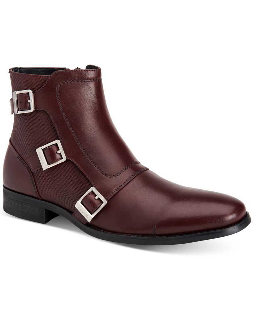 Calvin Klein Men's Stark Triple Monk Leather Boots - All Men's Shoes - Men  - Macy's