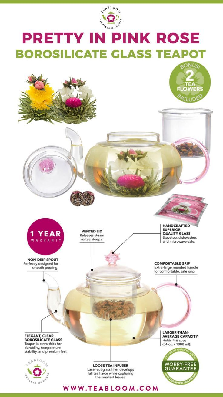 Dishwasher Safe Glass Tea Infuser 34 oz Borosilicate Glass Teapot Teabloom Rose Teapot Set Stovetop 2 Flowering Teas Thermal Shock Resistant Pretty in Pink Microwave