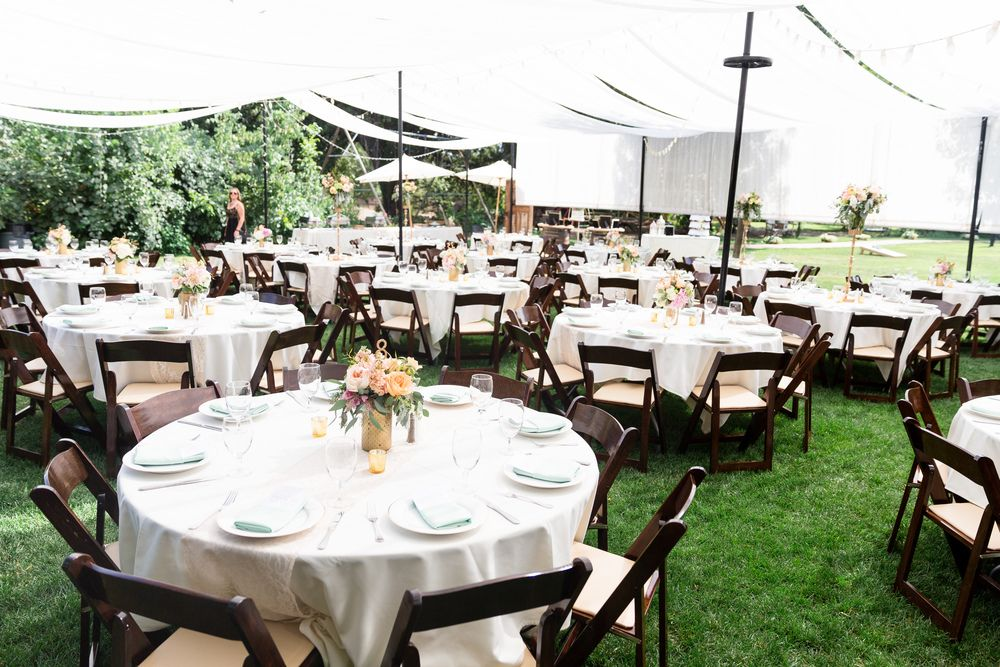 Reception Dinner Decor White Tablecloths Lace Table Runners Brown Chairs Ranch Wedding Photographer Chico California Trécreative
