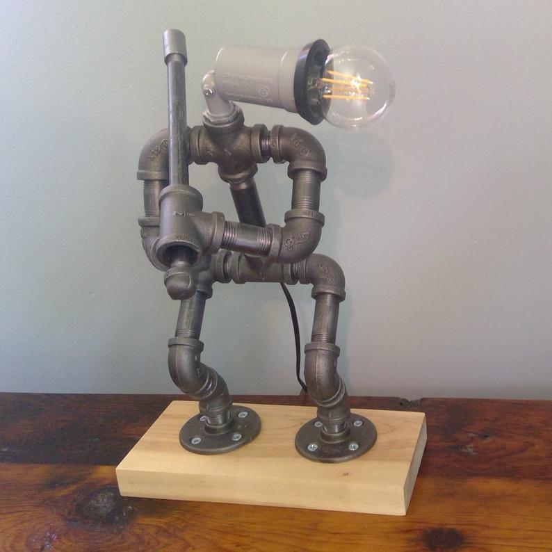 Rustic Robot Industrial Pipe Lamp - ApolloBox