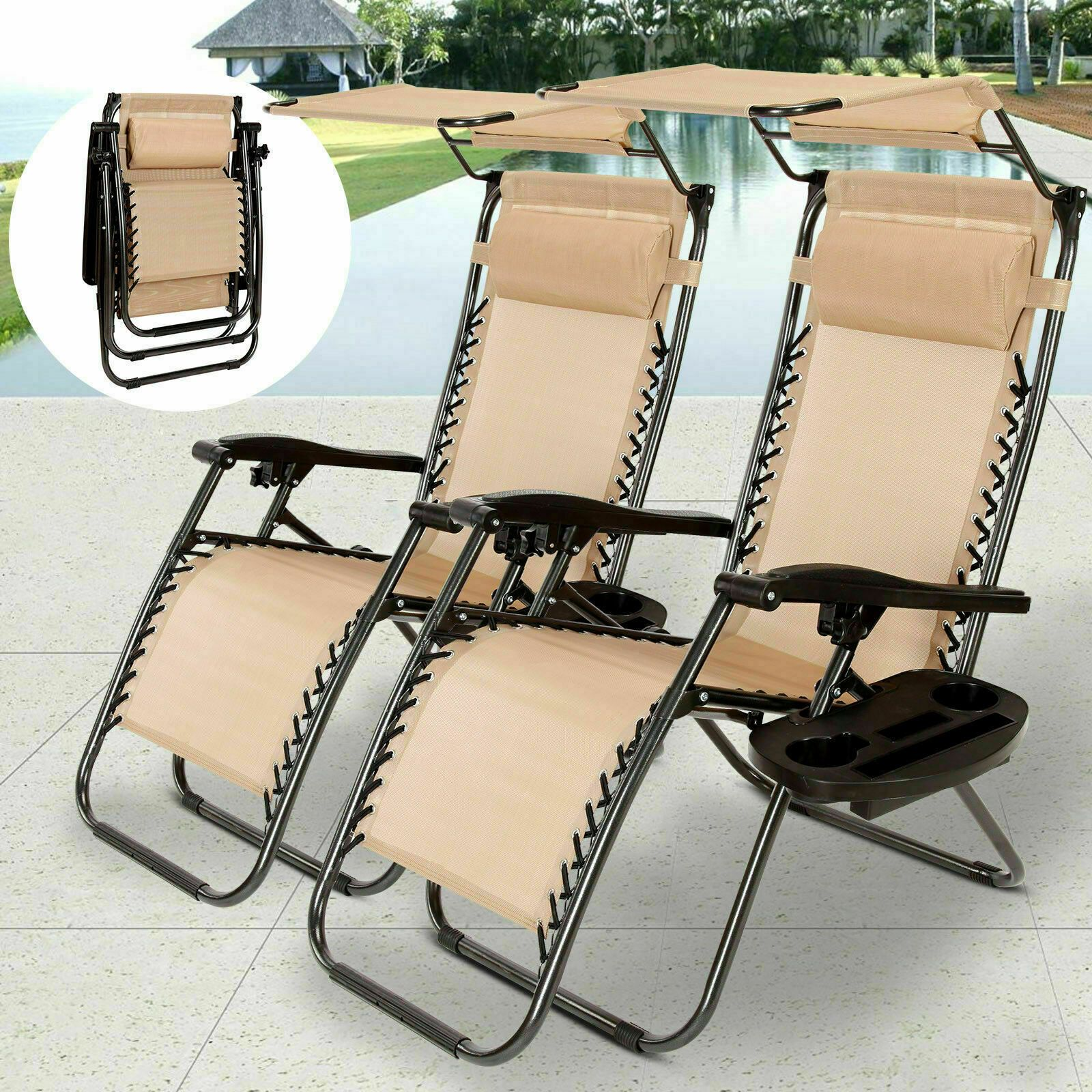 Details about New Folding Zero Gravity Lounge Chair Patio