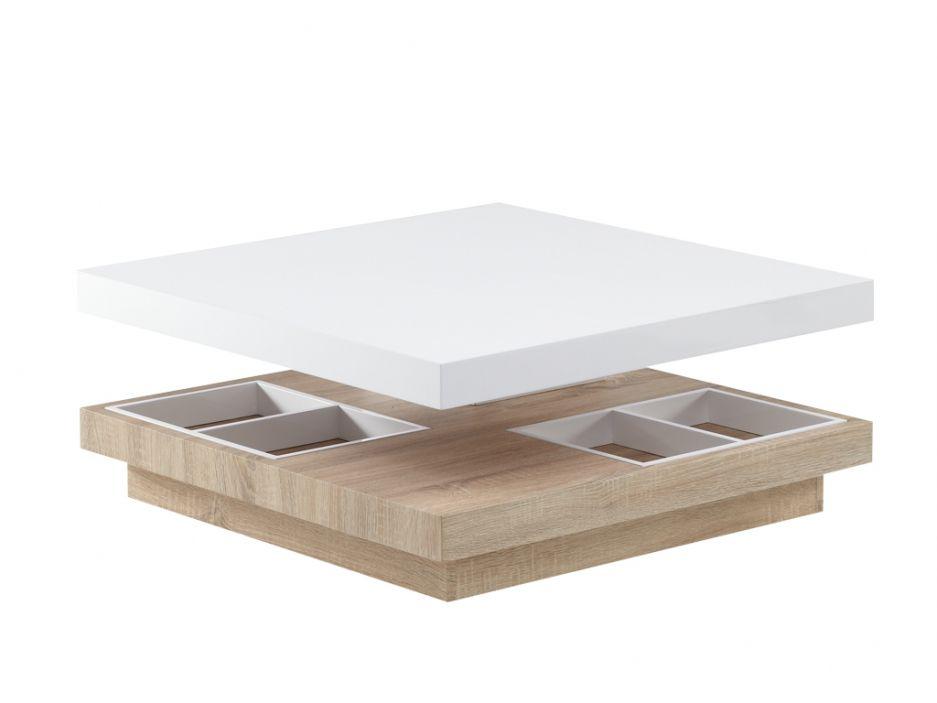 Table Basse Tissem Plateau Pivotant Mdf Laque Blanc Et Chene Table Basse Laque Blanche Table Basse Plateau