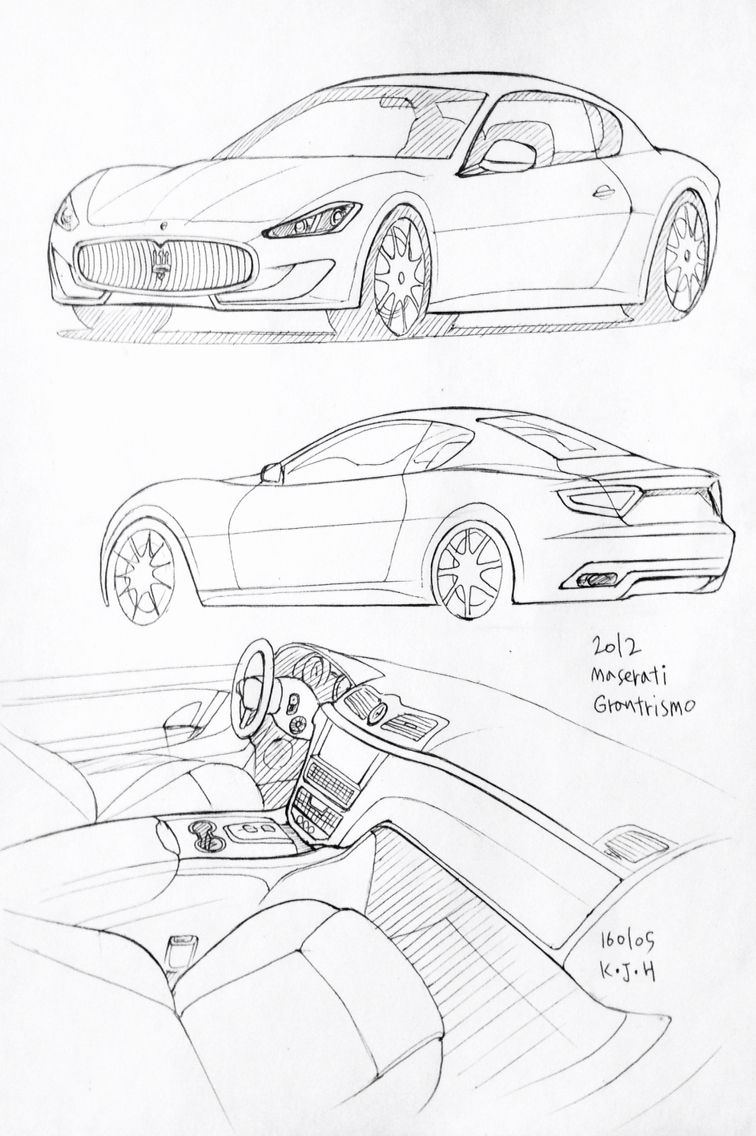 Car drawing 160105. 2012 Maserati Granturismo. Prisma on