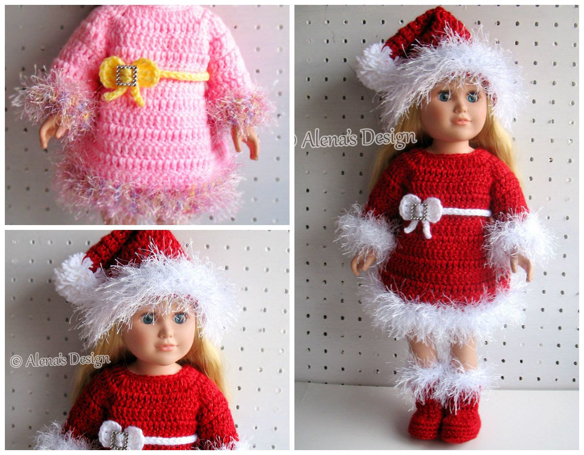 Crochet Pattern 3 PC Set for 18 inch Doll Crochet Patterns Christmas ...