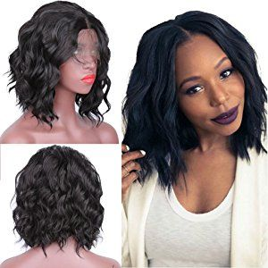 Short Bob Haircut Wavy Synthetic Lace Front Wigs for Black Women Glueless  Charming Synthetic Wigs with Baby Hair 14 Inch 11f6ac06e1