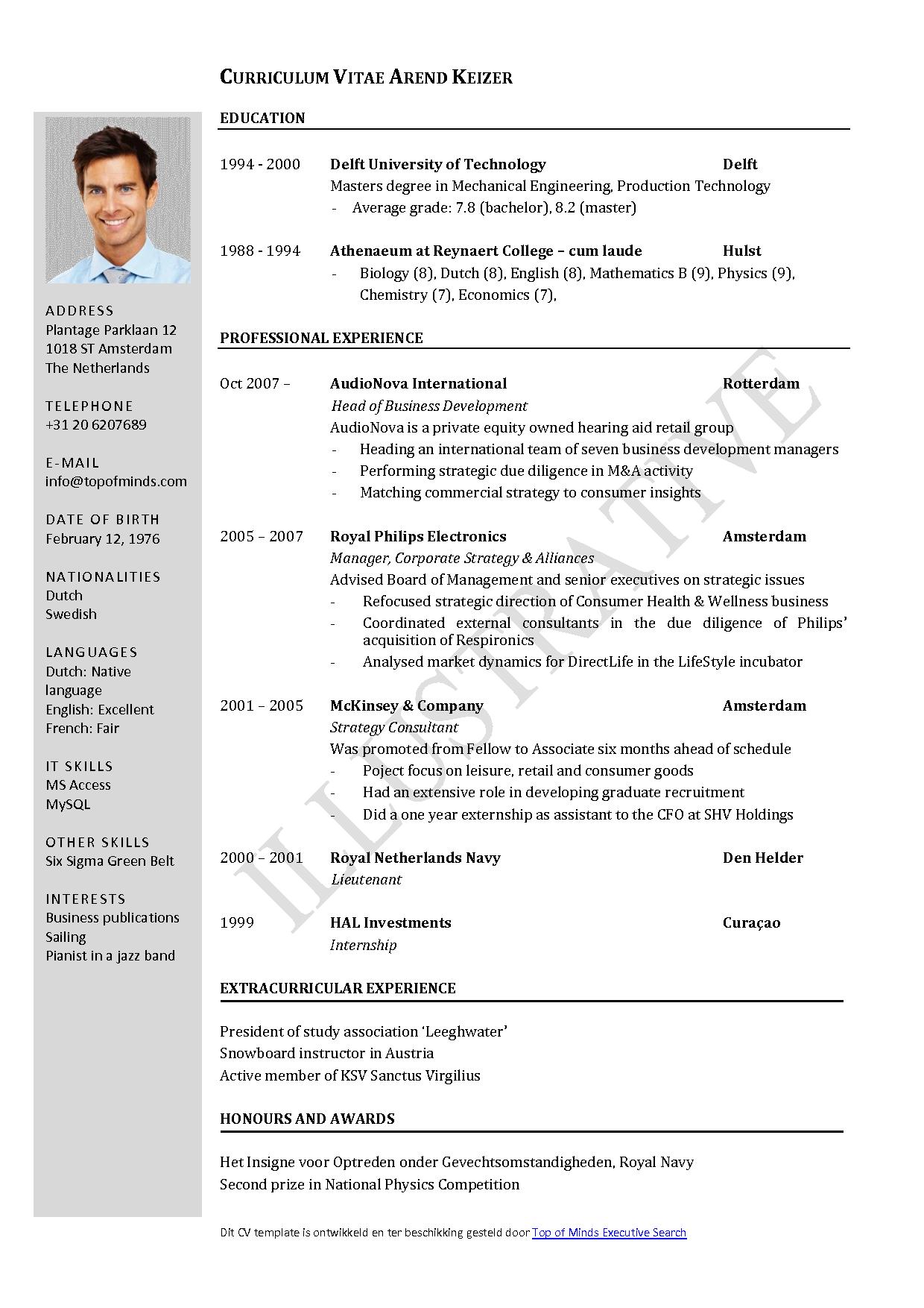 resume cv in word