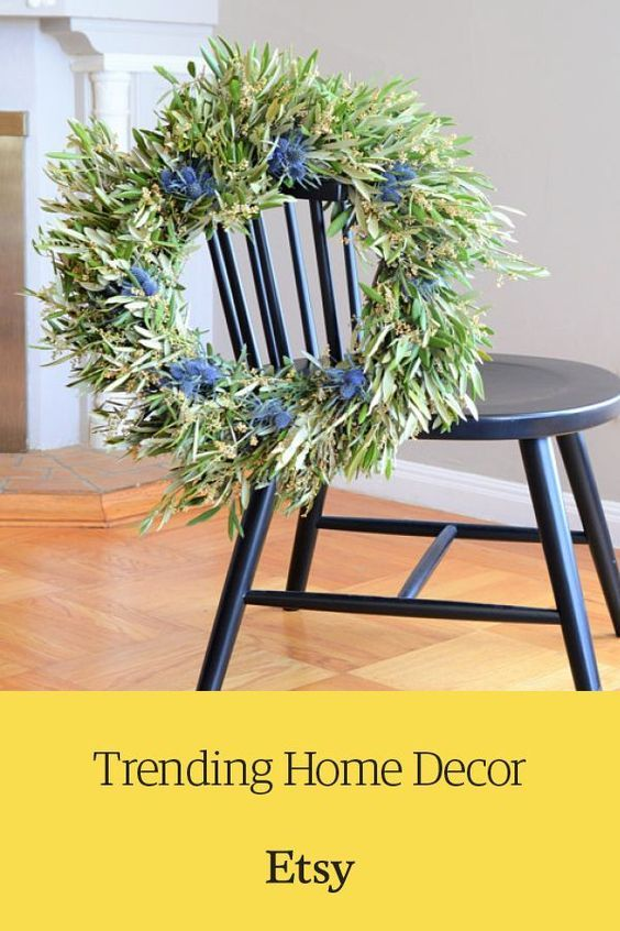 Handcrafted blue thistle and olive wreath. Discover one-of-a-kind home decor on Etsy.