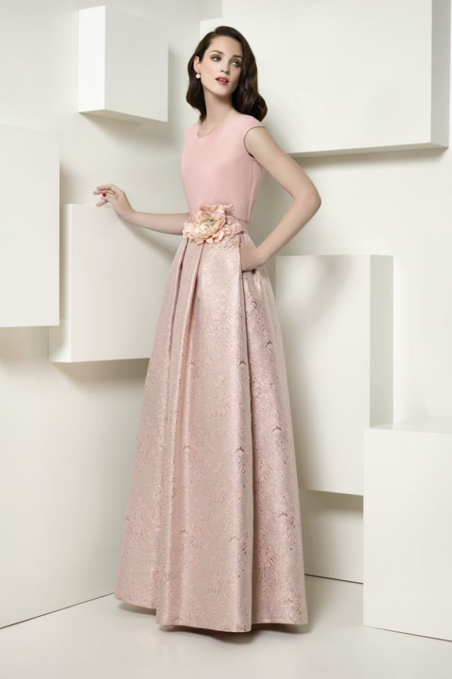 falda y blusa de fiesta color rosa nude e1009 de esperanza garcía