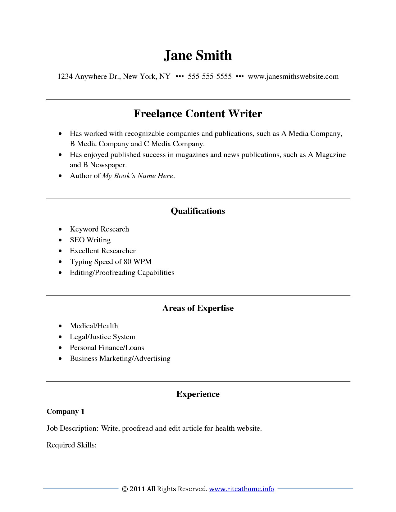 Example of writing resume