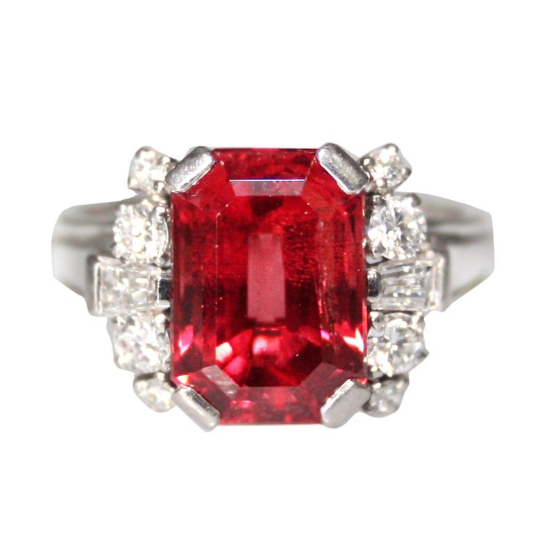 Gubelin Red Spinel Diamond Ring   From a unique collection of vintage more rings at https://www.1stdibs.com/jewelry/rings/more-rings/
