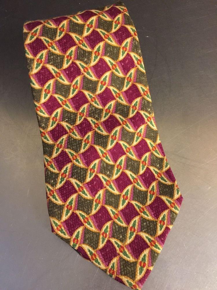 Burberrys Men's 100% Silk Necktie Burgundy Olive Geometric Floral Print Italy  #BurberrysLondon #Tie