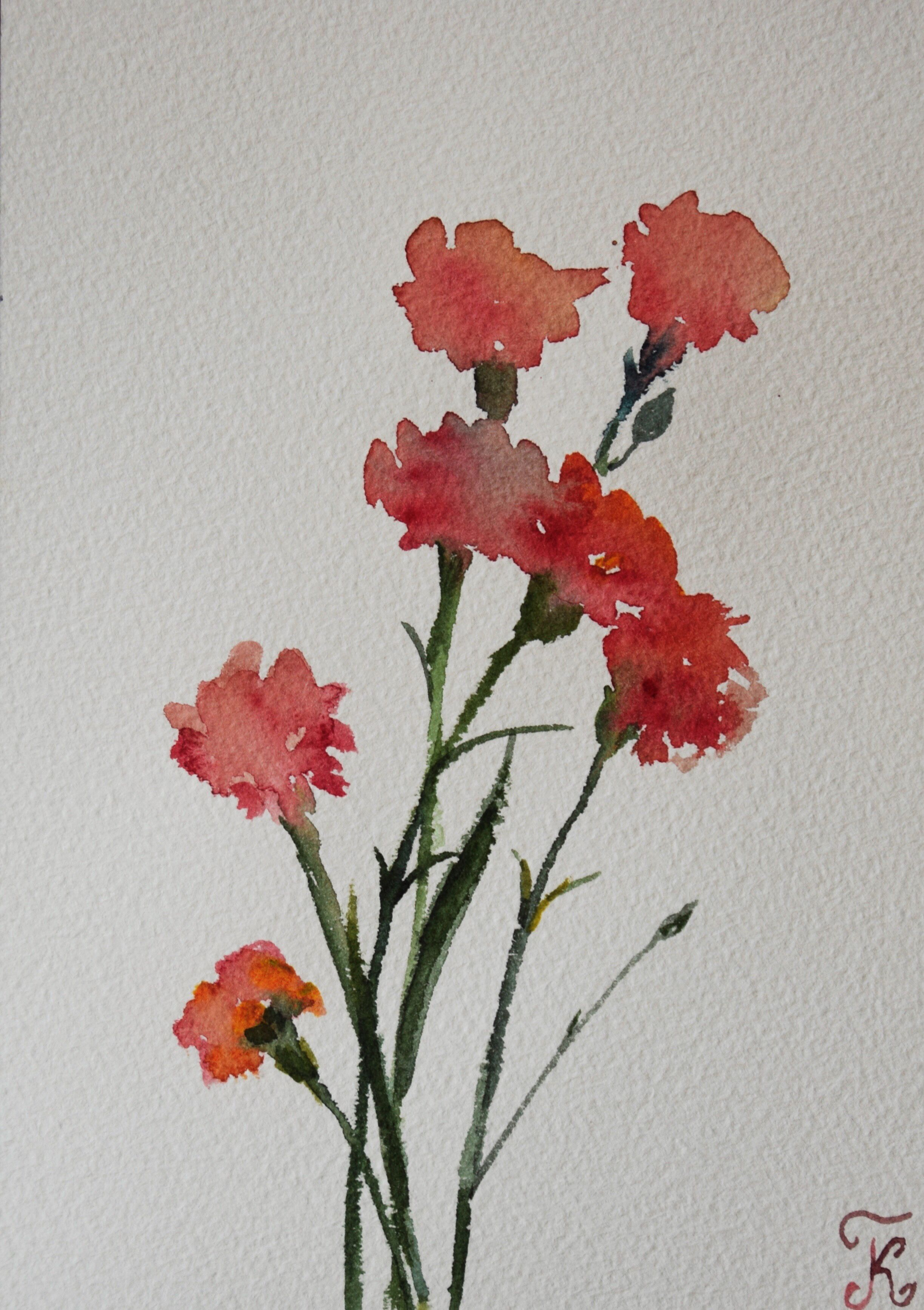 Flowers Original Watercolor Painting Postcard Red Dianthus Bouquet