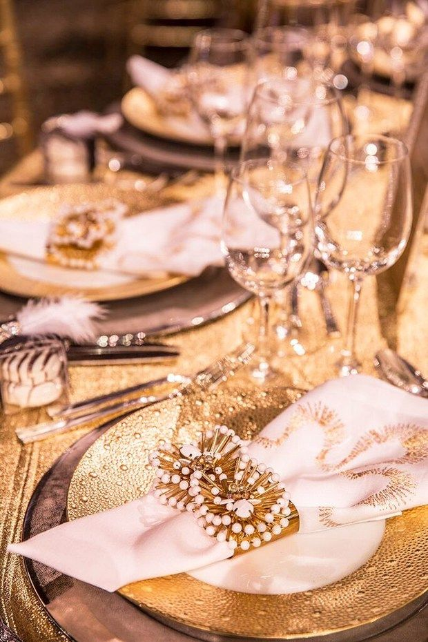 A silver and gold metallic Spring tablescape by Natalie Kraiem for the 2016 Lenox Hill Gala in New York City, via @sarahsarna.