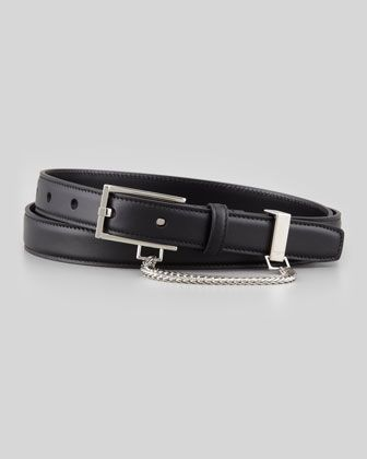 Saint Laurent Mens Slim Belt With Chain Detail Black Slimmer Belt Belt Slim Man