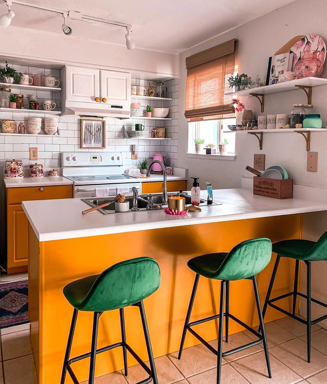 Love The Green Bar Stools With The Orange Drawers Mrs Shalapsik
