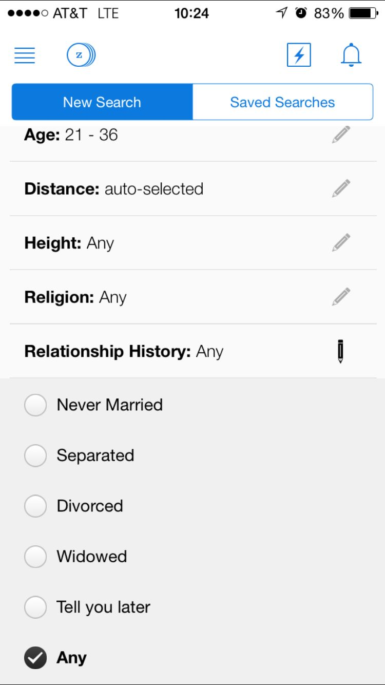 Filter selected in zoosk app advanced search