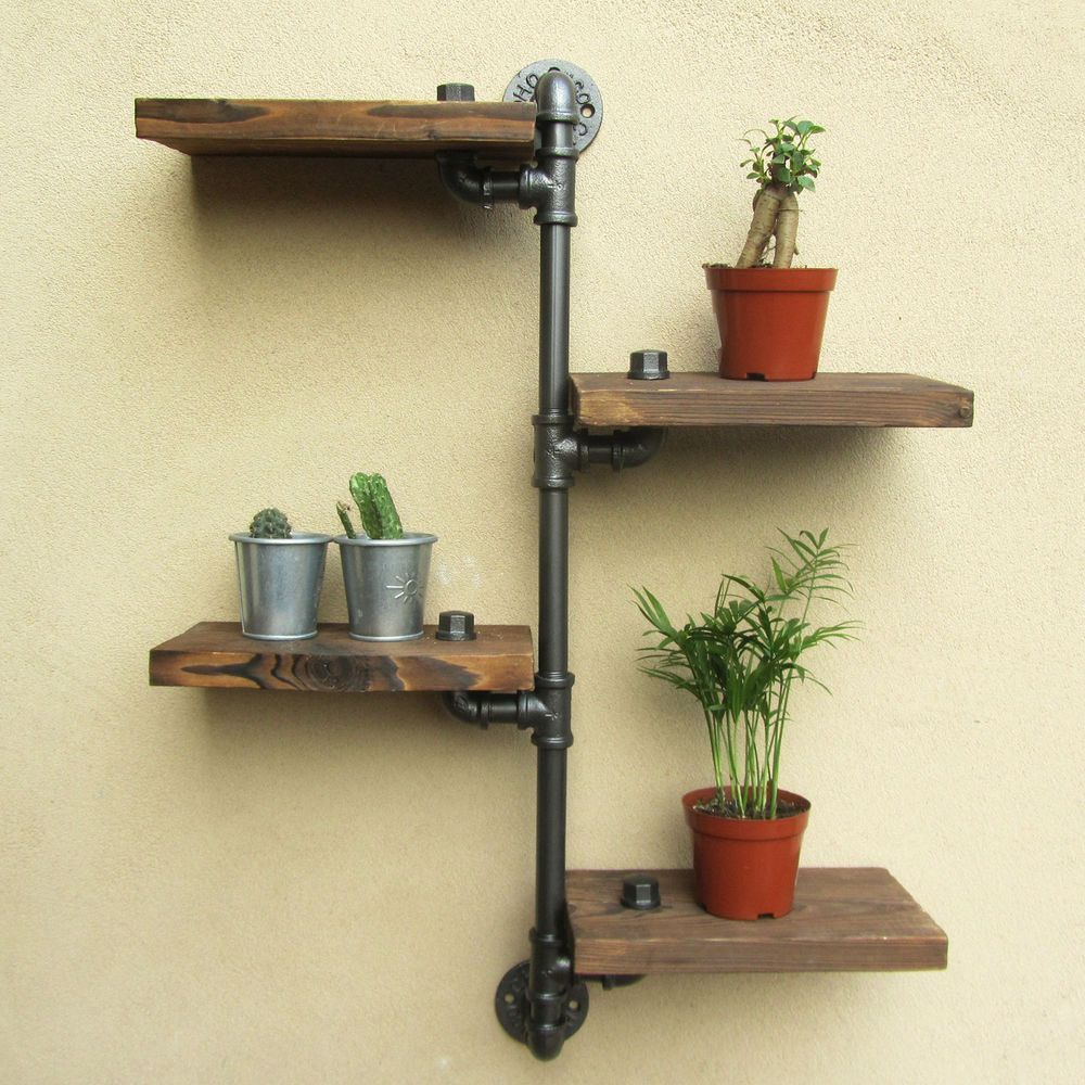 Urban industrial rustic wall mount iron pipe 4 tiers wood shelf ...